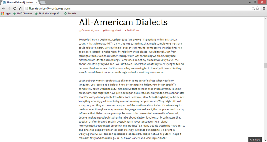 College essay on dialects